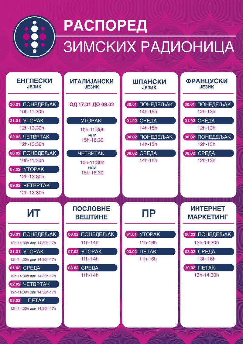 MEF Fakultet - raspored zimskih kreativnih radionica 2017