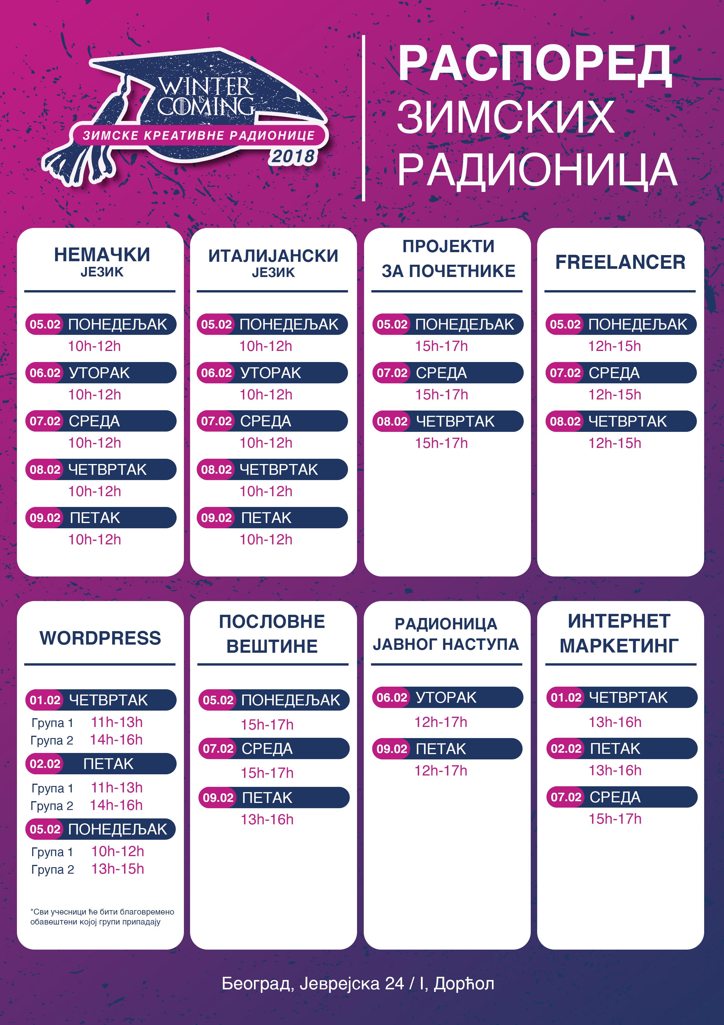 Zimske kreativne radionice - raspored - MEF fakultet